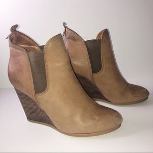 Coach Farah Booties Brown Leather Weddges 11B